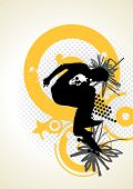 Stylish Vector Skater With Graffiti Tags
