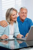 stock photo of senior-citizen  - Happy couple browsing internet together on laptop - JPG