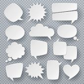 White Speech Bubbles. Thought Text Bubble Symbols, Origami Bubbly Speech Shapes. Comic Dialog Clouds poster