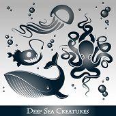 Vector Set of deep sea creatures