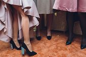 Womens Legs.woman Legs In High Heel Shoes..beautiful Legs Woman Wearing Dress With High Heels Shoes. poster