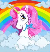 Cartoon White Pony Unicorn Head With Pink Mane Portrait On Bright Rainbow With Clouds Sky Background poster