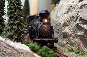 Model Locomotive On Track Layout With Headlamp