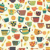 Seamless Retro Tea Cup Vector Pattern Background Beige. Distressed Vintage Look. Hand Drawn Tea Mugs poster