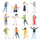 Musician Singers People. Vocal Singer Artist, Singing Diva Opera With Mic And Musicians Sing Song Co poster