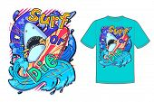Abstract Vector Print Illustration With Shark And Surfing For Girls, Boys, Clothes. Creative Art Wit poster