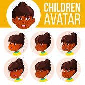 Indian Girl Avatar Set Kid Vector. Primary School. Hindu. Asian. Face Emotions. Emotions, Emotional. poster