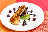 Fried Foie gras grilled, gourmet French cuisine. poster