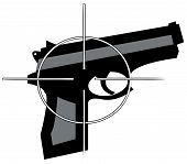 picture of crossed pistols  - hand gun with cross hair target on top - JPG
