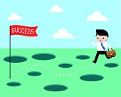 Businessman And The Route To Success Vector, Planning And Obstacle Avoidance Concept poster