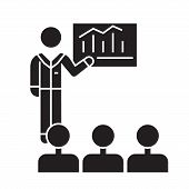 Business Conference, Mentor Teaching Black Vector Concept Icon. Business Conference, Mentor Teaching poster