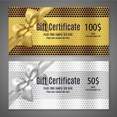Gift Certificate Template (gift Voucher Layout, Coupon Template). Gift Card Design With Golden Bow,  poster