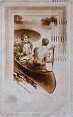 Vintage Post Card Of Couple In Boat