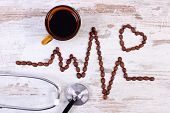 Electrocardiogram Line Of Roasted Coffee Grains, Cup Of Coffee And Medical Stethoscope, Ecg Heart Rh poster
