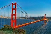 Panorama Of The Gold Gate Bridge And San Francisco City At Night, California.ставрпо poster