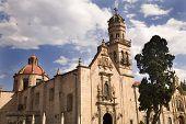 Guadalupita Church Morelia Mexico Outside Blue Skies