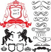 Set of heraldic silhouettes elements - icons of blazon, crown, vignette, scroll, book, column, horse