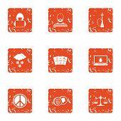 Slackness Icons Set. Grunge Set Of 9 Slackness Icons For Web Isolated On White Background poster