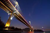 foto of tsing ma bridge  - It is the Ting Kau Bridge in the front and Tsing Ma Bridge at the right - JPG