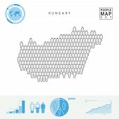 Hungary People Icon Map. People Crowd In The Shape Of A Map Of Hungary. Stylized Silhouette Of Hunga poster