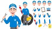 Professional Auto Mechanic In Uniform. Expert Service Worker. Handsome Cartoon Character Creation Se poster