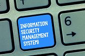 Handwriting Text Writing Information Security Management System. Concept Meaning It Safety Secure Te poster