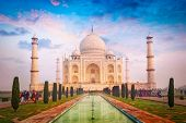 Taj Mahal. Indian Symbol and famous tourist destination - India travel background. Agra, India poster