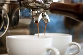 Let The Machine Do The Best. Coffee Cups. Espresso Making With Portafilter. Coffee Being Brewed In C poster