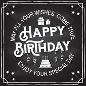 May All Your Wishes Come True. Happy Birthday. Stamp, Badge, Sticker, Card With Gifts And Birthday C poster