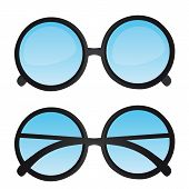 foto of bifocals  - nerd glasses with blue lens isolated - JPG