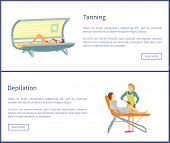 Tanning And Depilation Web Posters In Spa Salon. Procedure Of Hair Removal Client Lying On Table And poster