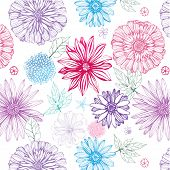 lovely seamless pattern with pink, violet and blue flowers on white background