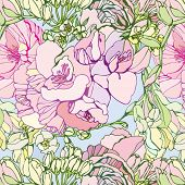 seamless floral pattern with pink freesia