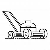 Motor Grass Cutter Icon. Outline Motor Grass Cutter Vector Icon For Web Design Isolated On White Bac poster