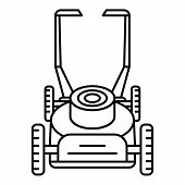 Motor Lawn Mower Icon. Outline Motor Lawn Mower Vector Icon For Web Design Isolated On White Backgro poster