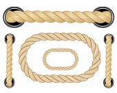 Nautical Rope. Round And Square Rope Frames, Cord Borders. Sailing Vector Decoration Elements. Rope  poster