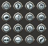 Rap Hip Hop Music Vector Icons In The Stylish Round Buttons For Mobile Applications And Web poster
