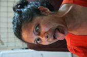 picture of googly-eyes  - Monkey face girl shot in good lighting - JPG