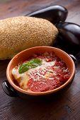 parmigiana eggplant on bowl italian traditional recipe