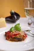parmigiana eggplant on dish italian traditional recipe