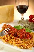 stock photo of italian food  - spaghetti with meatballs and tomato sauce - JPG