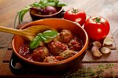 image of meatballs  - bowl with meatballs and tomato sauce - JPG