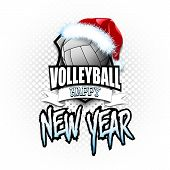 Christmas And New Year Pattern. Volleyball Logo Template Design. Volleyball Ball With Santa Hat. Pat poster