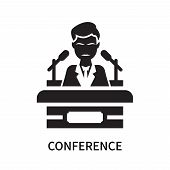 Conference Icon Isolated On White Background. Conference Icon Simple Sign. Conference Icon Trendy An poster
