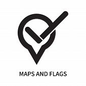 Maps And Flags Icon Isolated On White Background. Maps And Flags Icon Simple Sign. Maps And Flags Ic poster