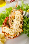 lobster with salad and mayonnaise