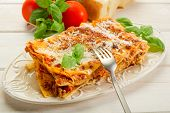 foto of lasagna  - lasagna on dish - JPG
