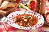 Hungarian goulash or beef stew, thick meat soup