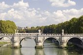 Rome River Tiber With Bridge