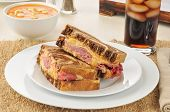 Reuben Sandwich With Tomato Bisque